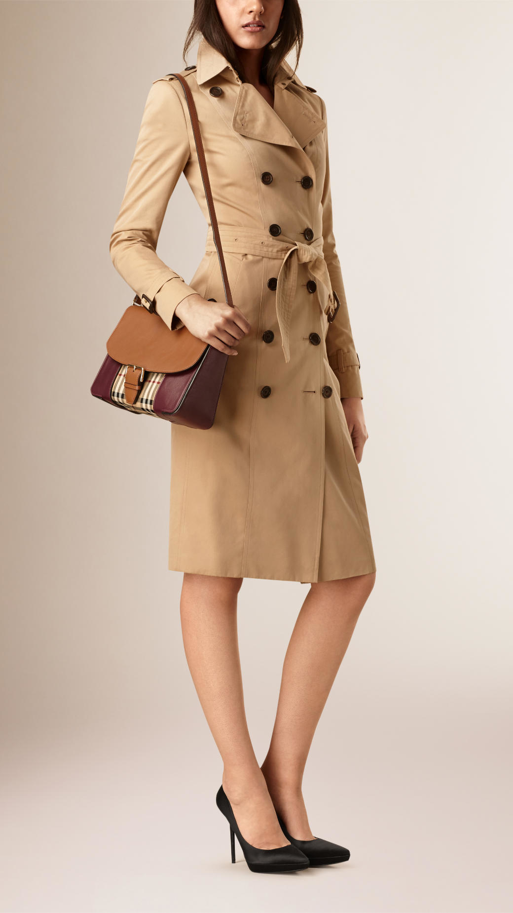 8be6c3c06b87 Burberry Medium Horseferry Check And Leather Cross-Body Bag in Brown ...