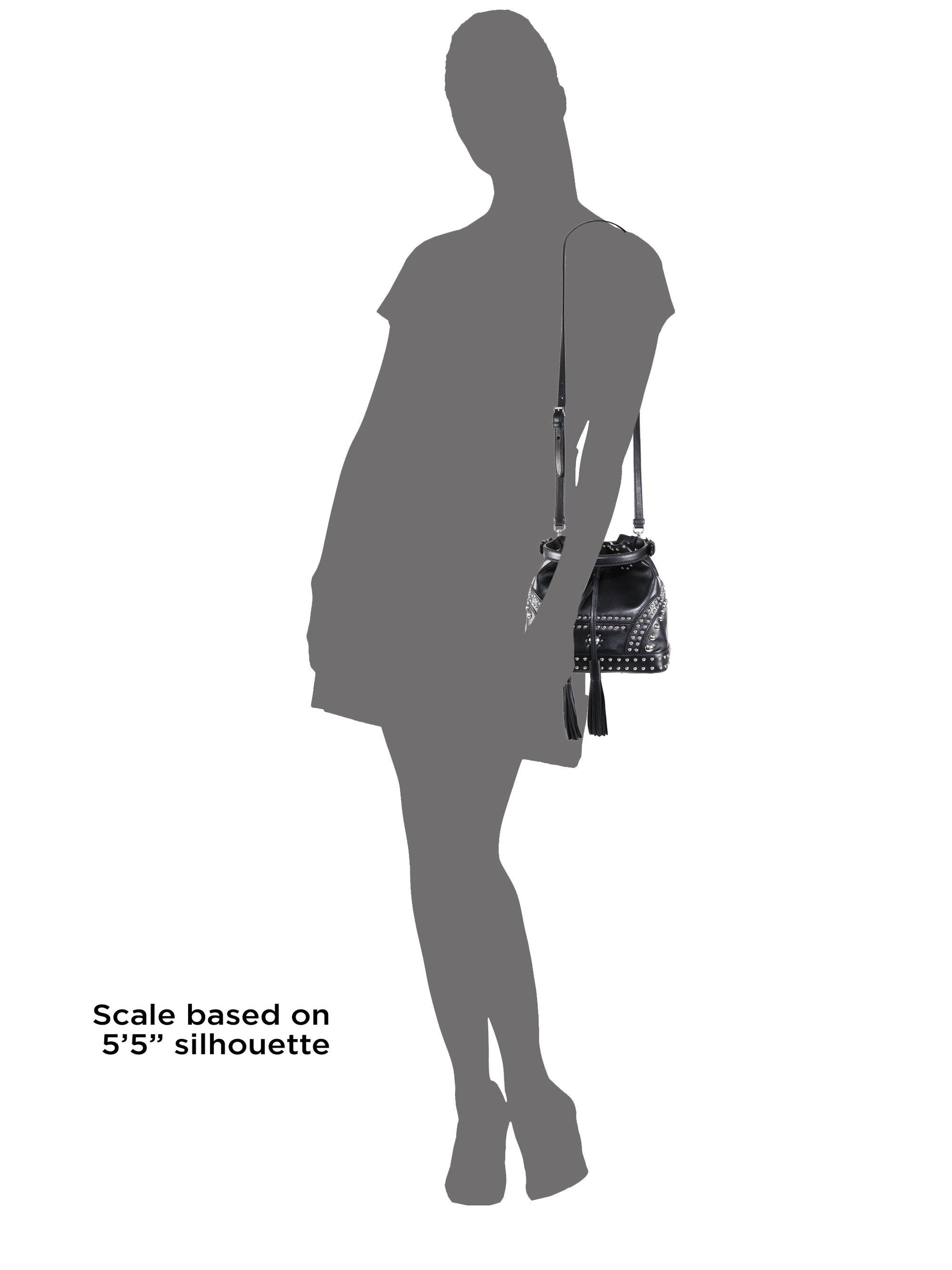 fc215f294974d4 Prada Soft Calf Studded Small Bucket Bag in Black - Lyst