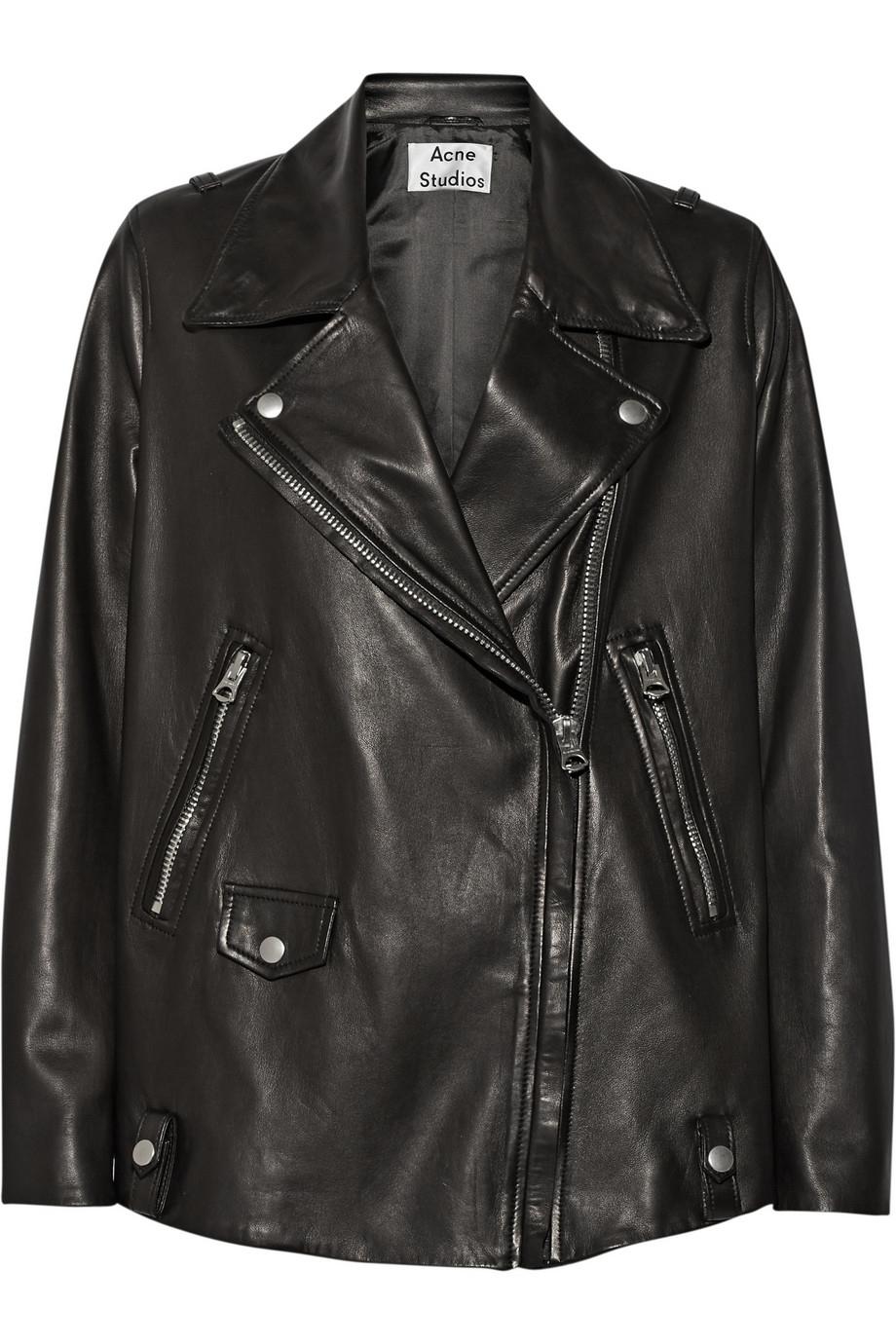 Lyst - Acne Studios Swift Light Oversized Leather Biker Jacket in Black