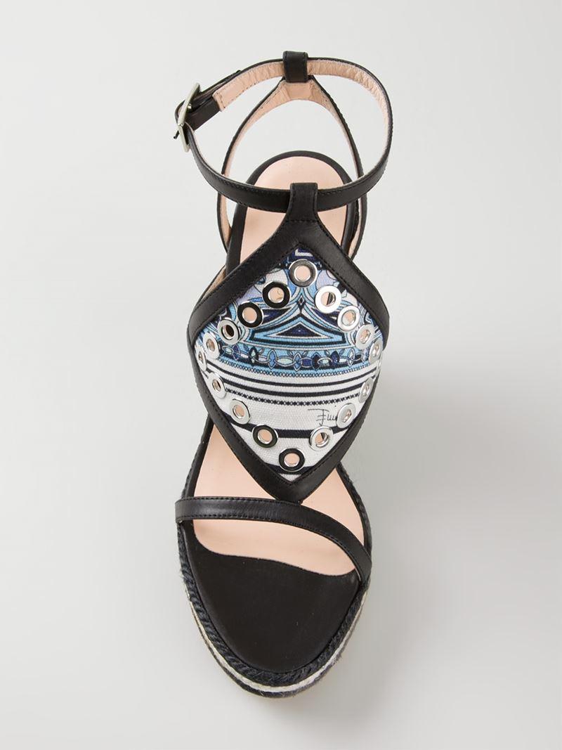 Lyst Emilio Pucci Striped Wedge Sandals In Black