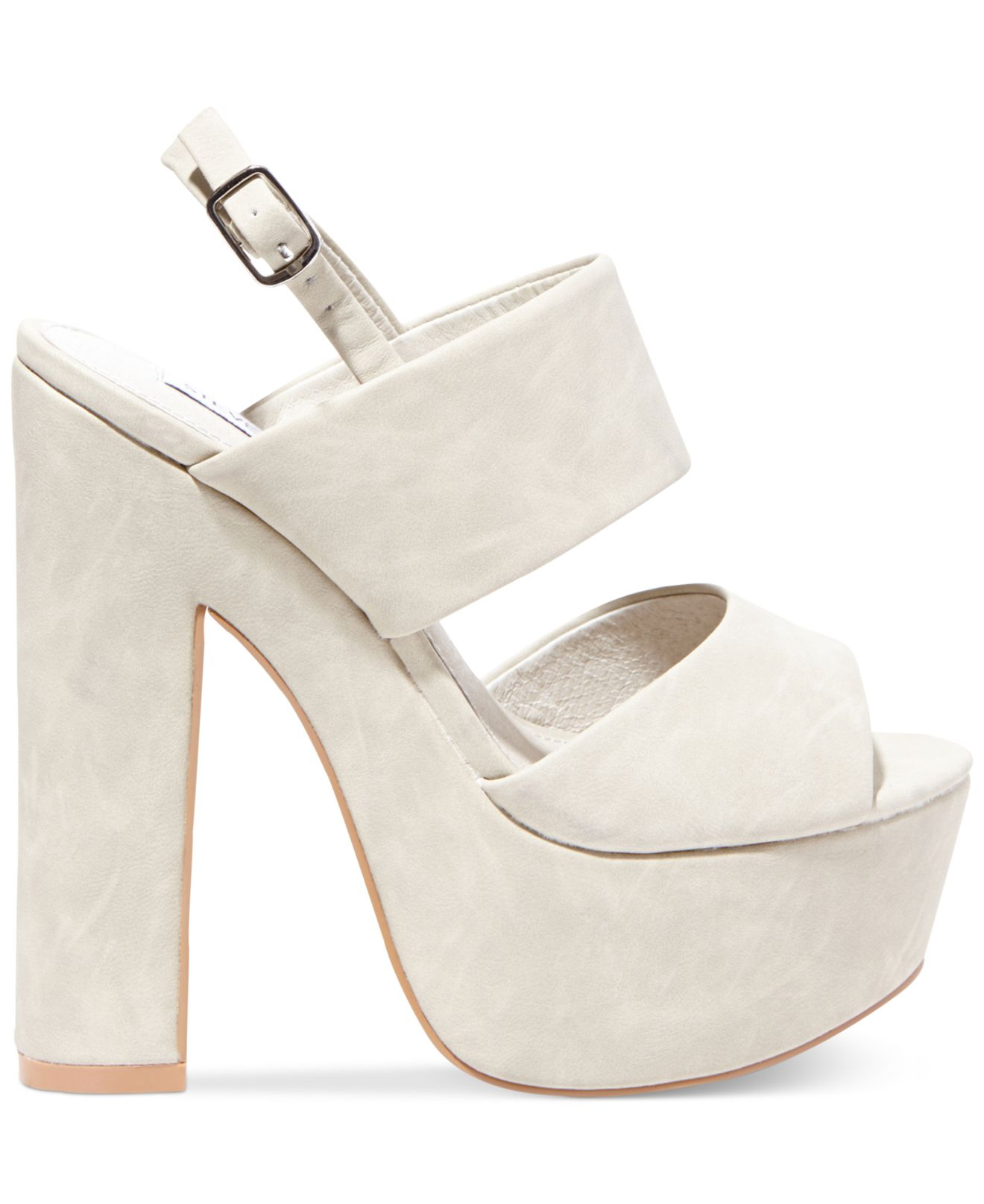 aef143dd30b Lyst - Steve Madden Women s Wellthy Slingback Platform Sandals in White