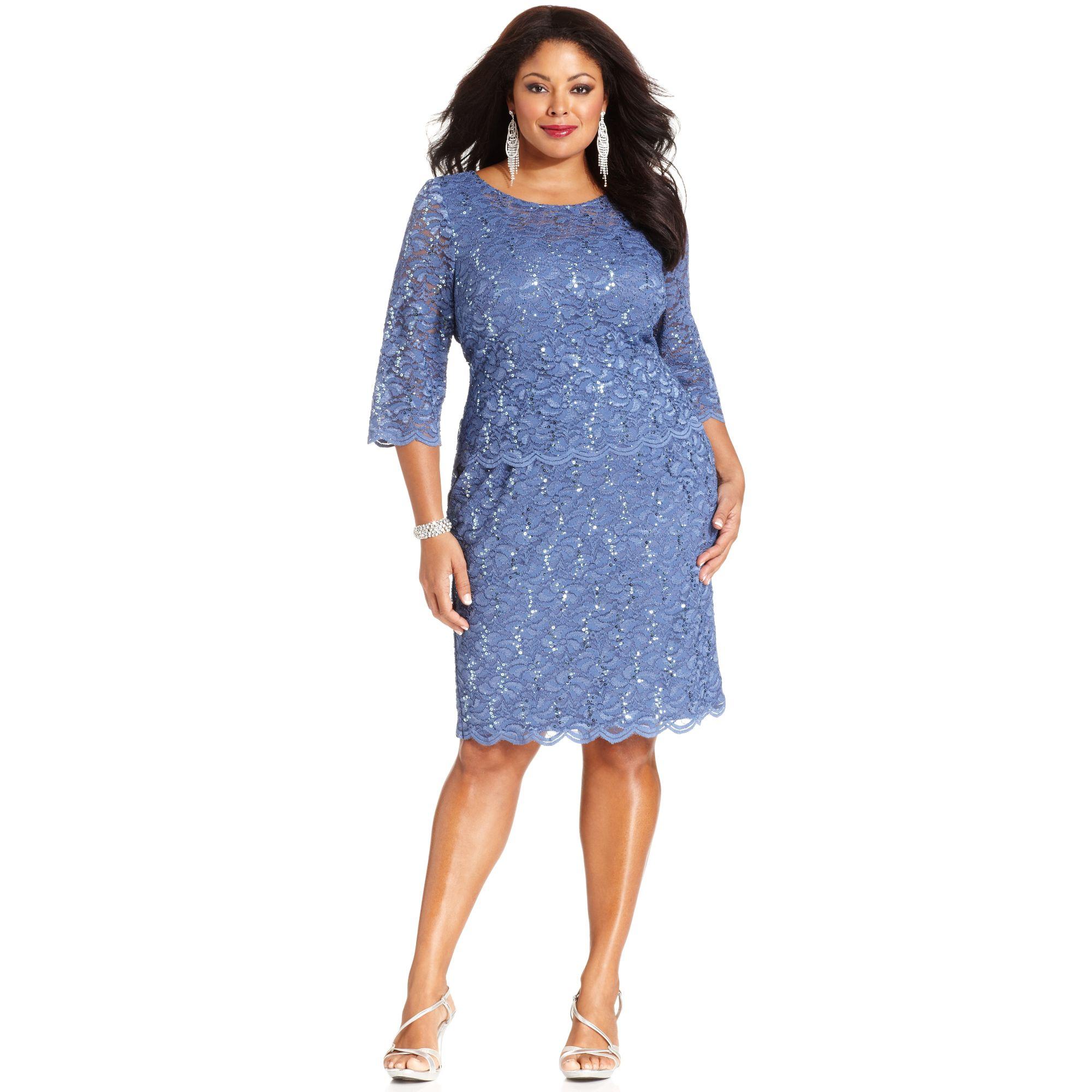 1ba0ec1e425 Alex Evenings Plus Size Sequined Lace Dress in Blue - Lyst