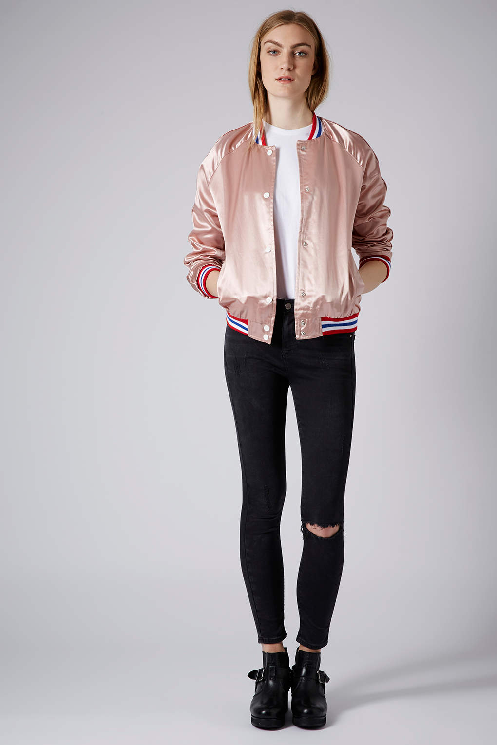 Topshop Sateen Bomber Jacket in Pink | Lyst
