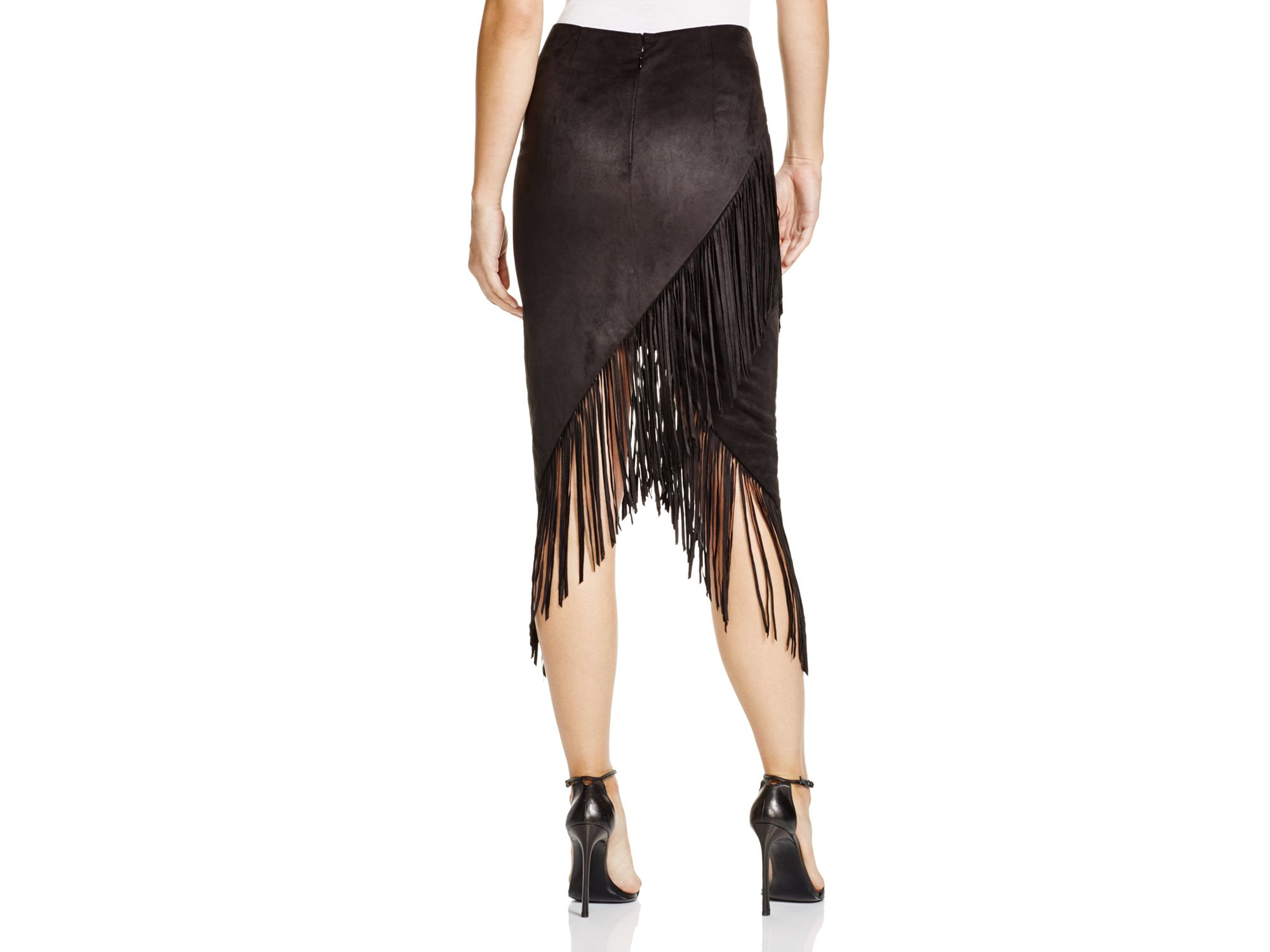 Olivaceous Faux Suede Fringed Skirt in Black | Lyst