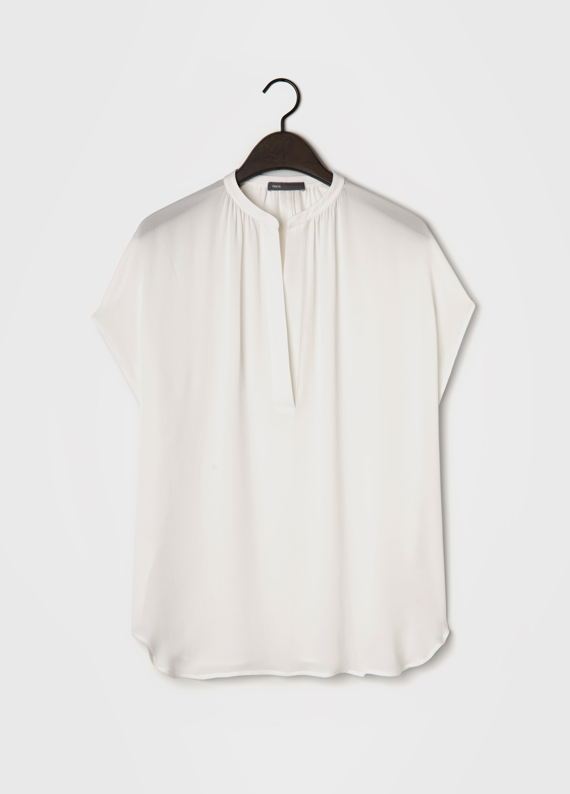 8c159cc36e2240 Vince Cap Sleeve Silk Popover Blouse in White - Lyst