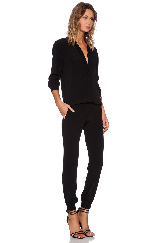 Monrow Crepe Long Sleeve Jumpsuit in Black   Lyst