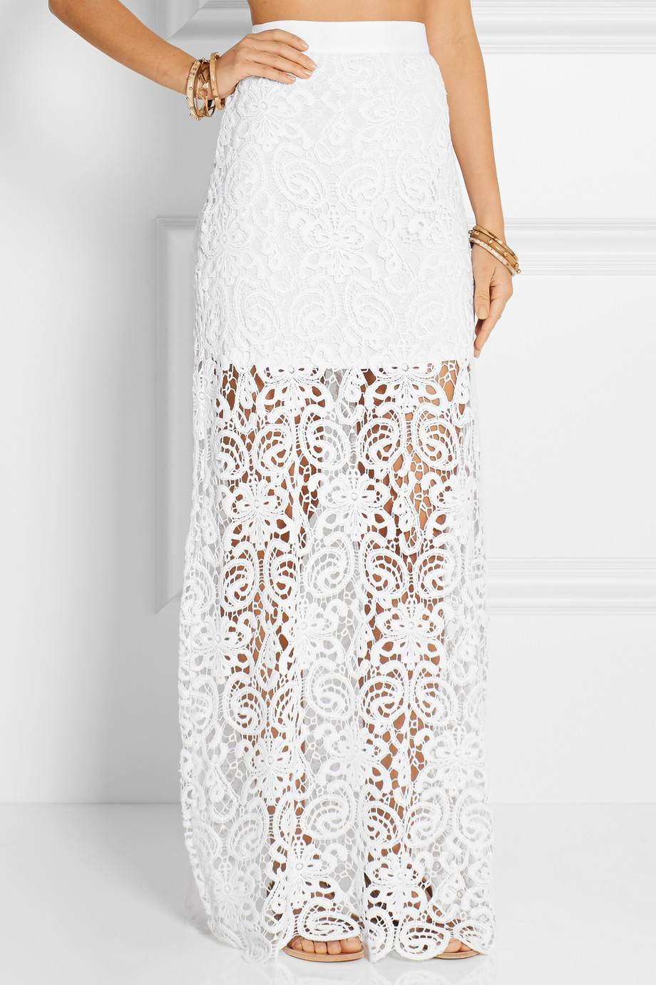 miguelina crocheted cotton maxi skirt in white lyst