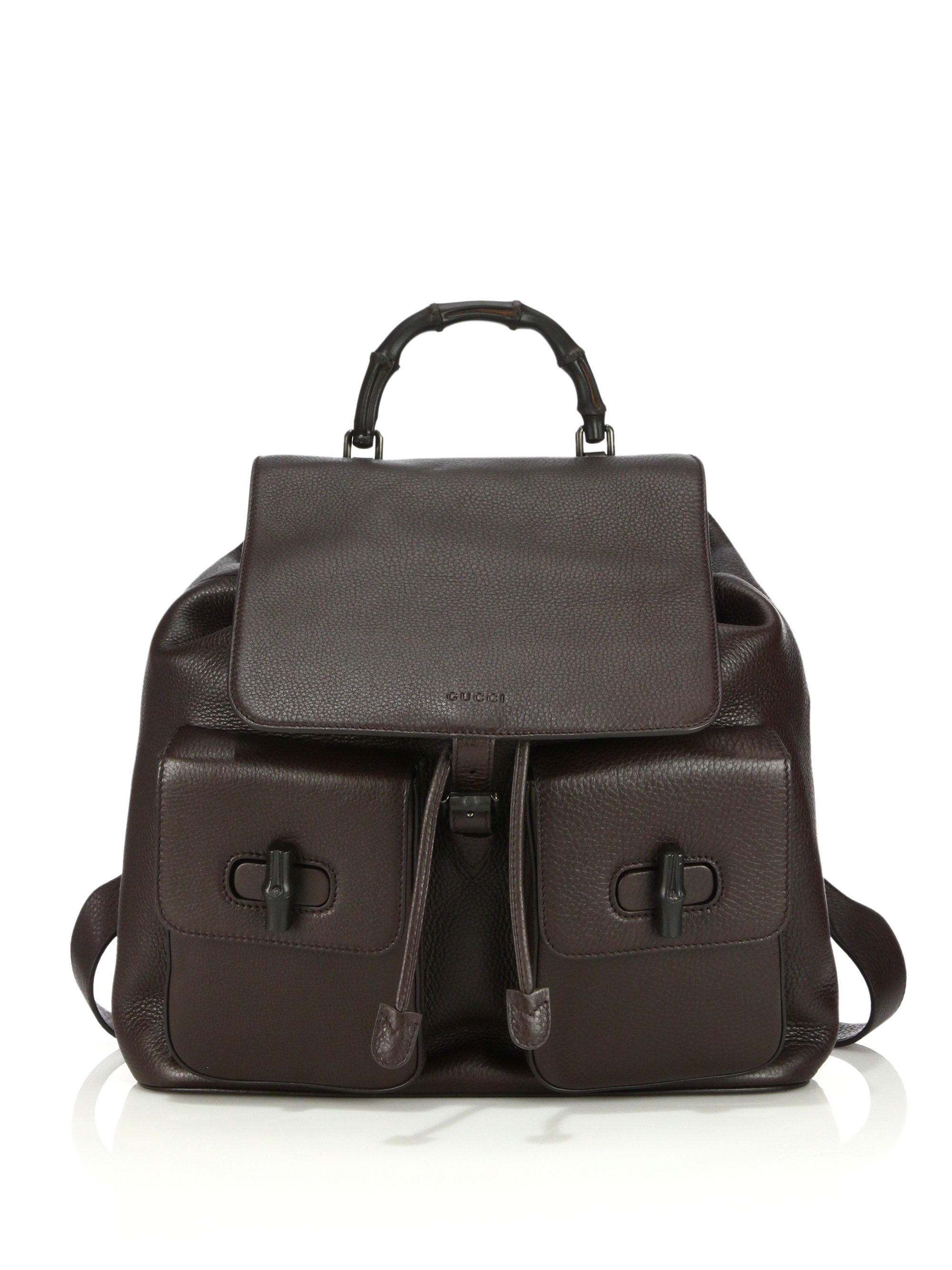 Gucci Bamboo Leather Backpack In Brown For Men Lyst