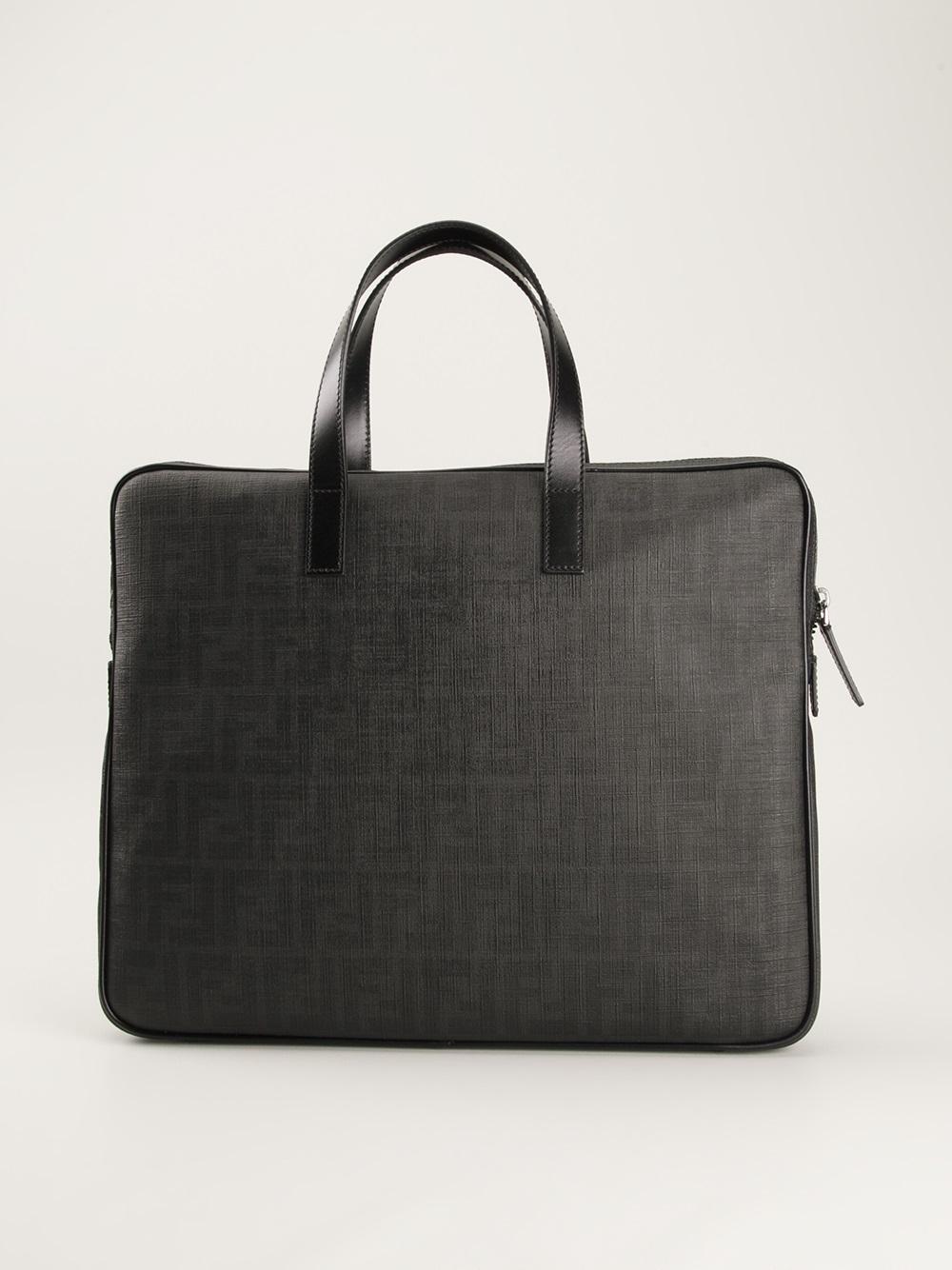Fendi Slim Briefcase In Black For Men Lyst