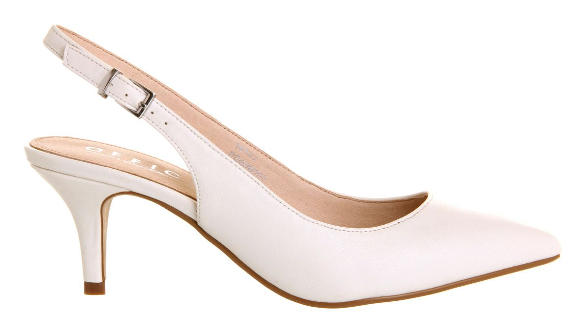 Office Date Night Slingback Mid Heel Court Shoes in White  Lyst