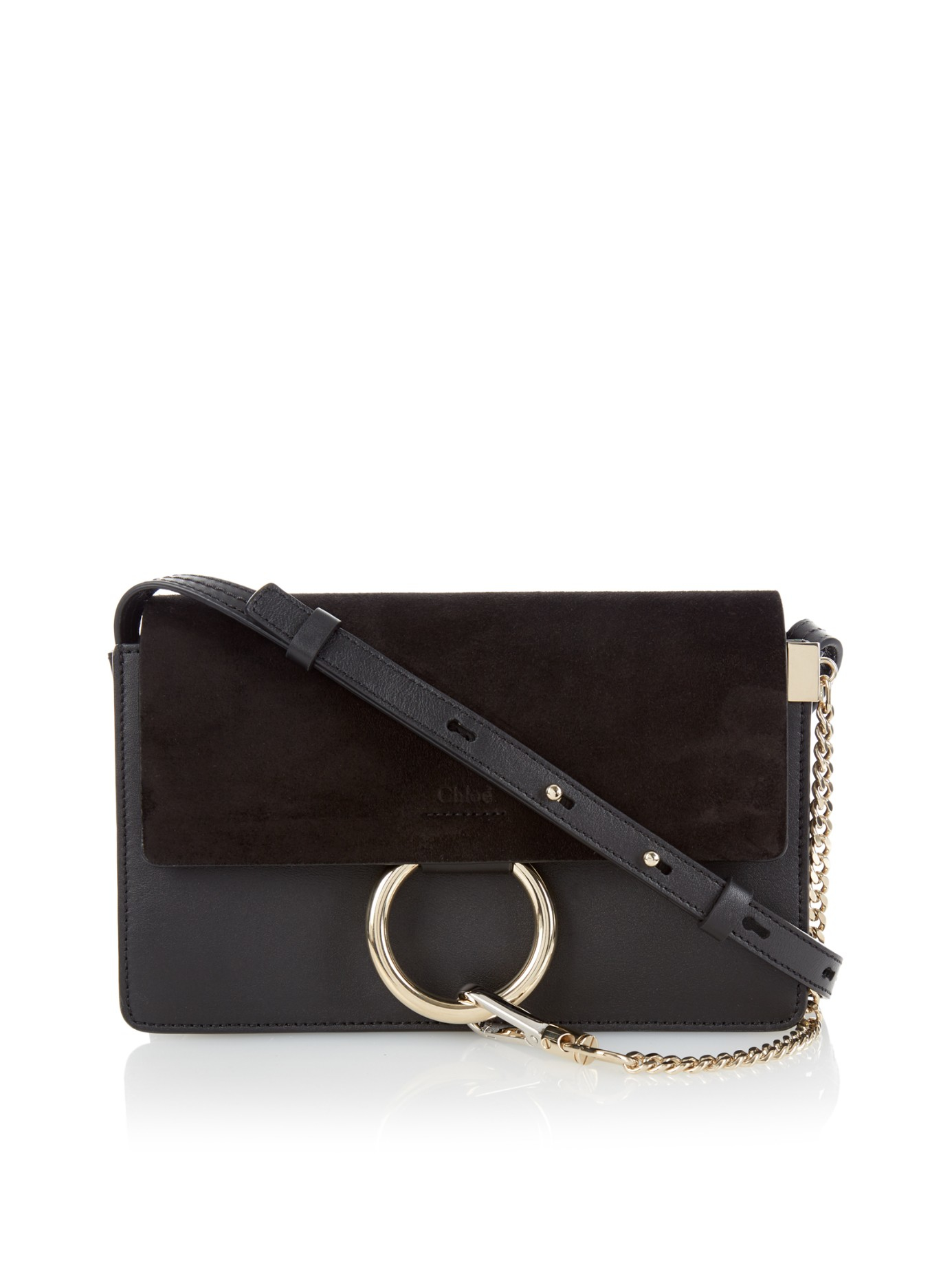 chloe faye small suede and leather cross-body bag