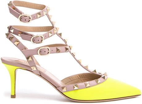 valentino rockstud leather kitten heels in pink yellow orange lyst. Black Bedroom Furniture Sets. Home Design Ideas
