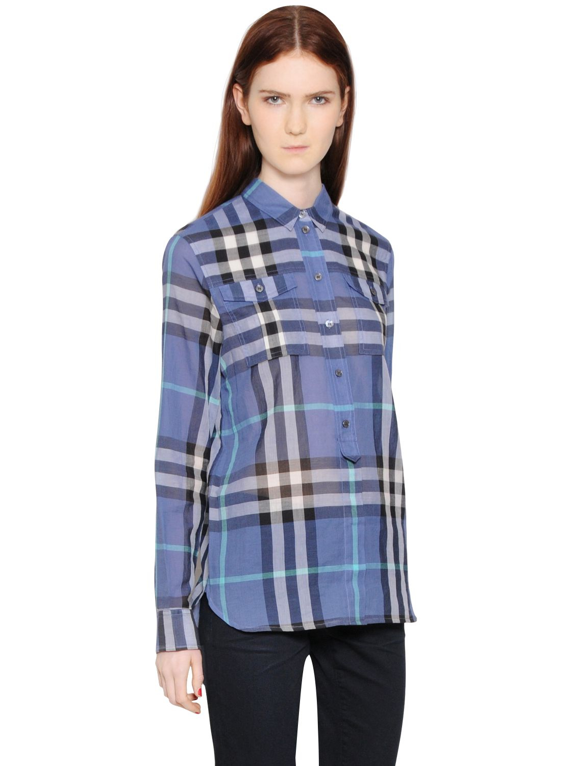 07c411c9eb41 Lyst - Burberry Brit Check Printed Cotton Voile Shirt in Blue