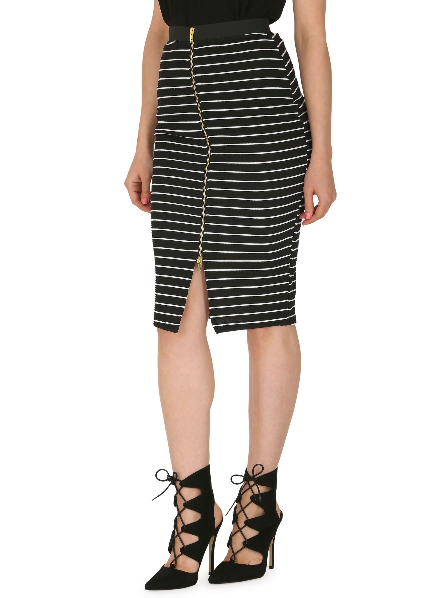 izabel horizontal stripe pencil skirt in black lyst