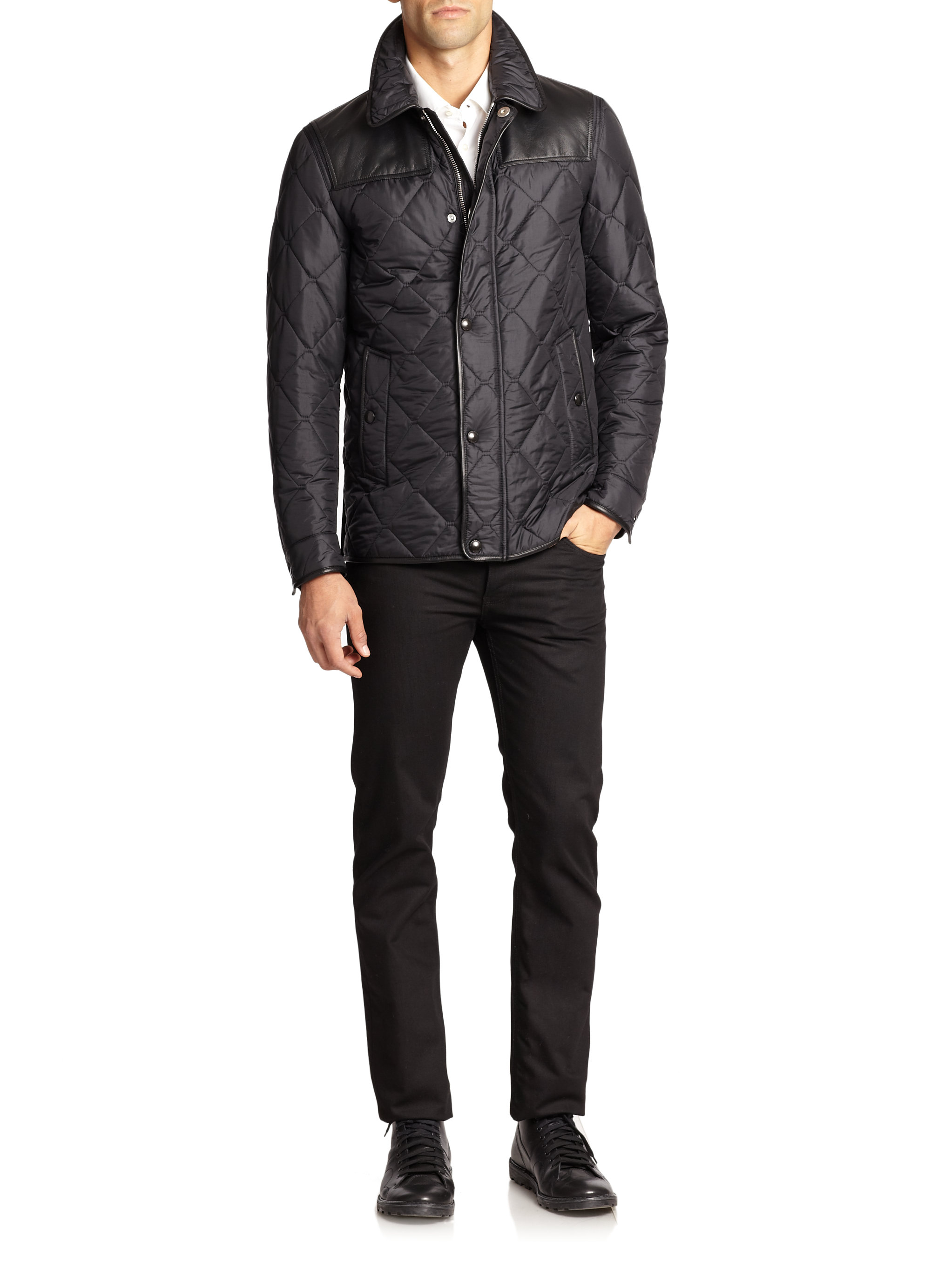 Lyst Burberry Kinley Quilted Jacket In Black For Men