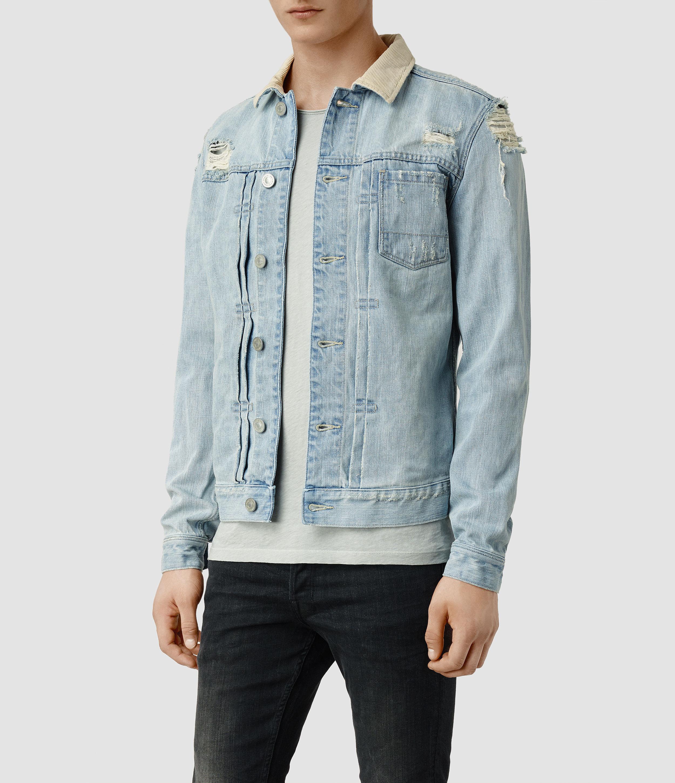 23394864e5 AllSaints Ridgeway Denim Jacket in Blue for Men - Lyst