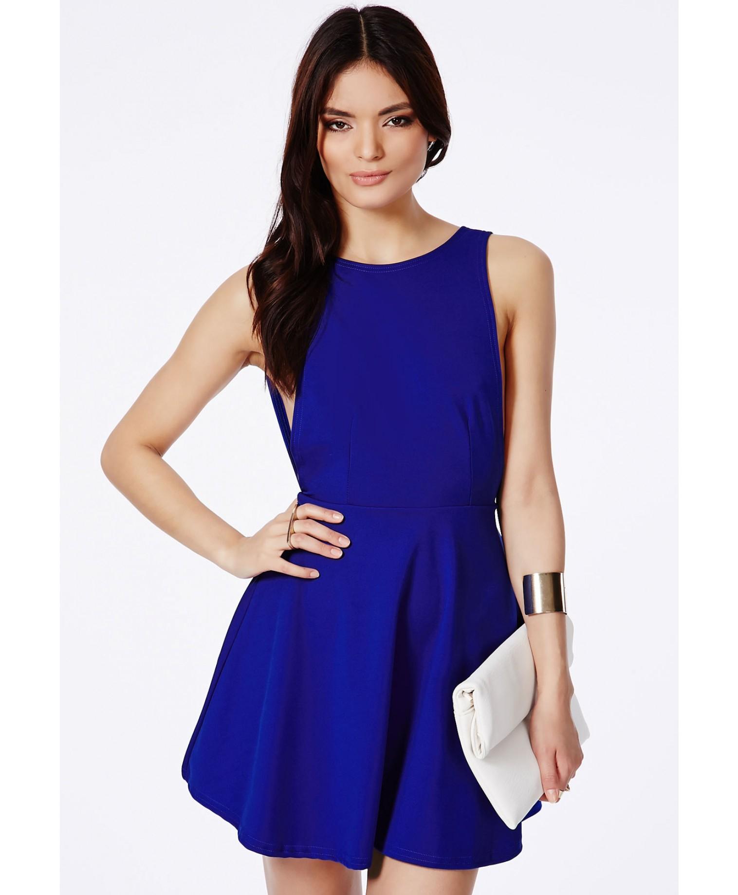 Missguided Marenna Backless Skater Dress In Cobalt Blue in ...