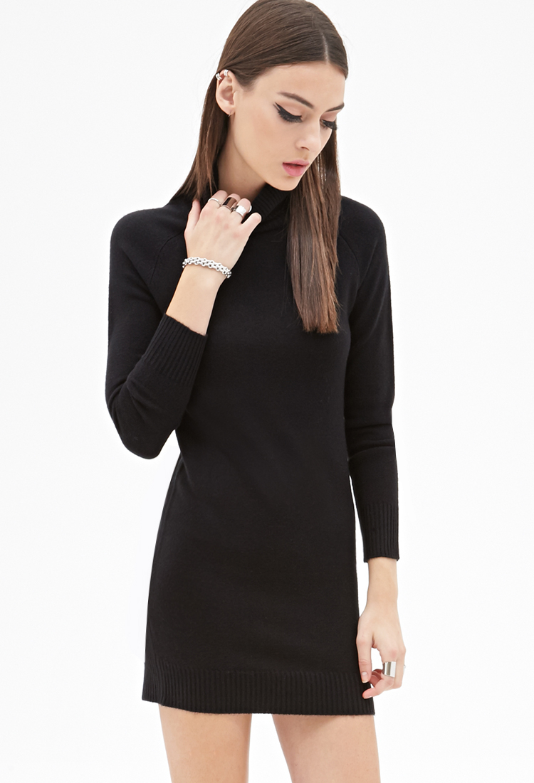 With a turtleneck sweater bodice and bandage-fabric skirt, this dress has a chic two-piece look, plus the skirt is high waisted so it makes legs look long. The style also has elegant 3/4 sleeves and no closures.