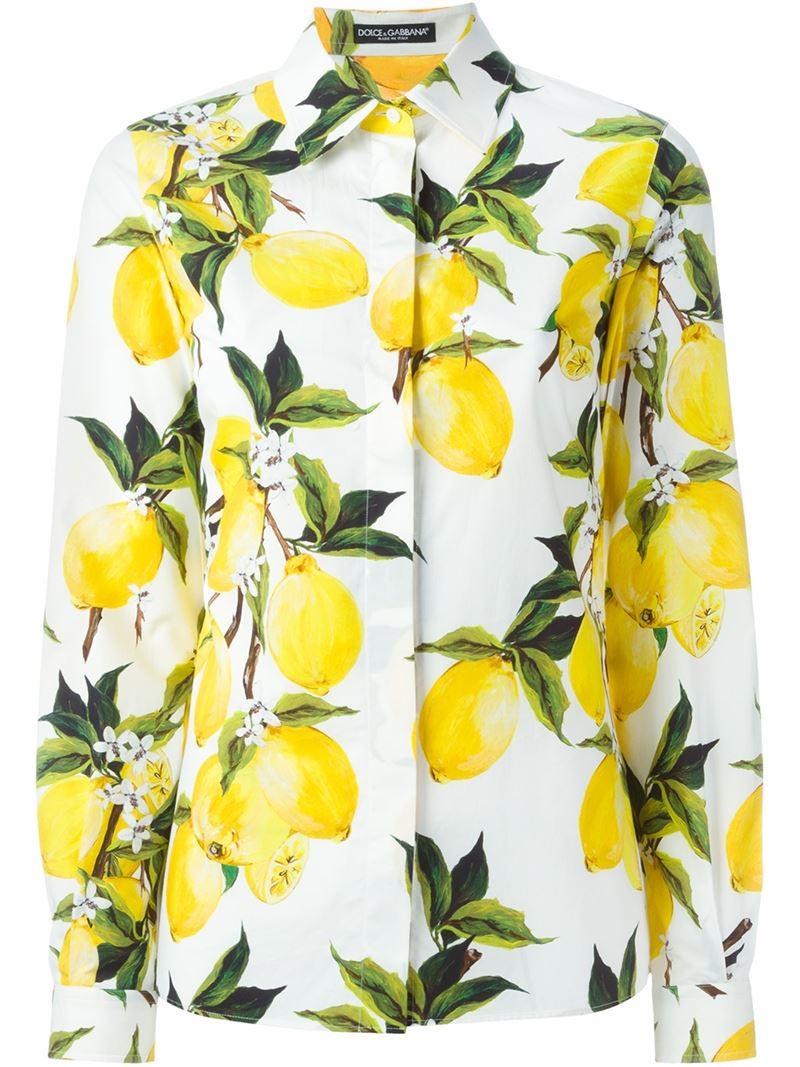 Lyst - Dolce   Gabbana Lemon Print Shirt in White ade65e7ed8cca