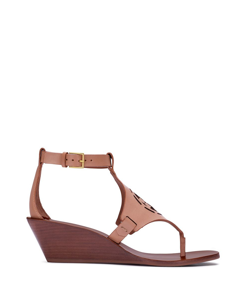 0059f9220feb40 Lyst - Tory Burch Zoey Wedge Sandal in Natural