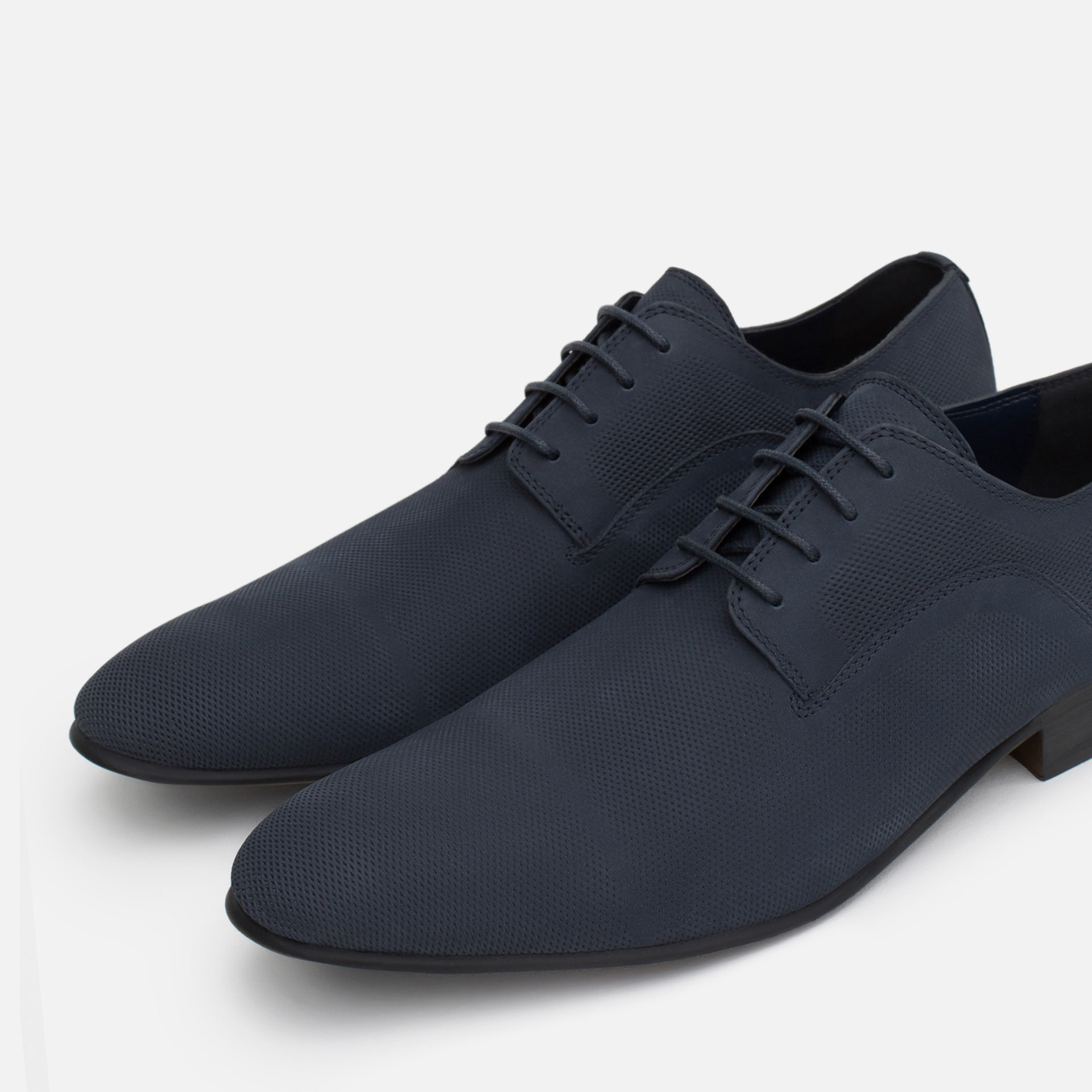 Zara Nubuck Leather Oxford Shoes In Blue For Men | Lyst