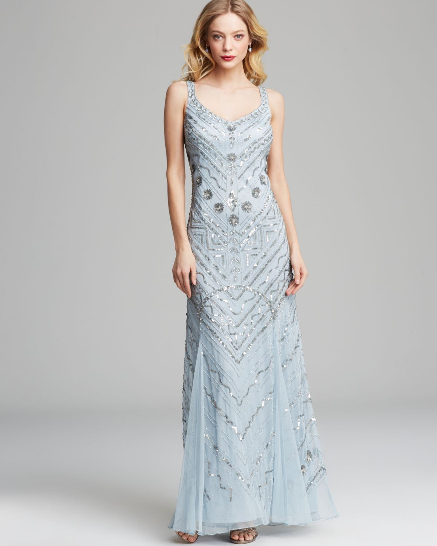 Lyst - Aidan Mattox Gown Sleeveless Sequin in Blue