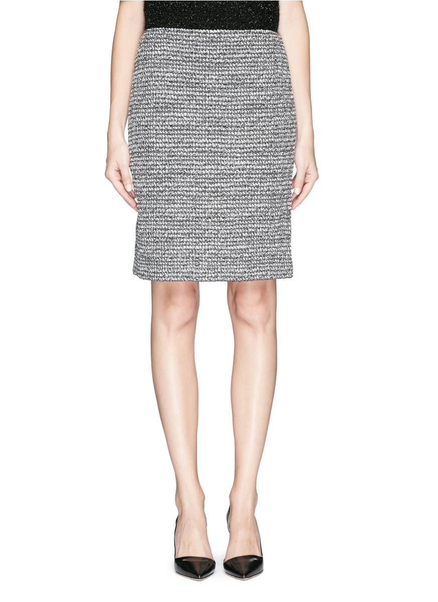 st metallic tweed knit pencil skirt in gray lyst