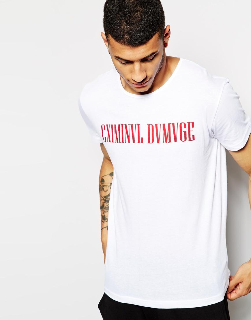 criminal damage t shirt with logo print in white for men whitered lyst. Black Bedroom Furniture Sets. Home Design Ideas