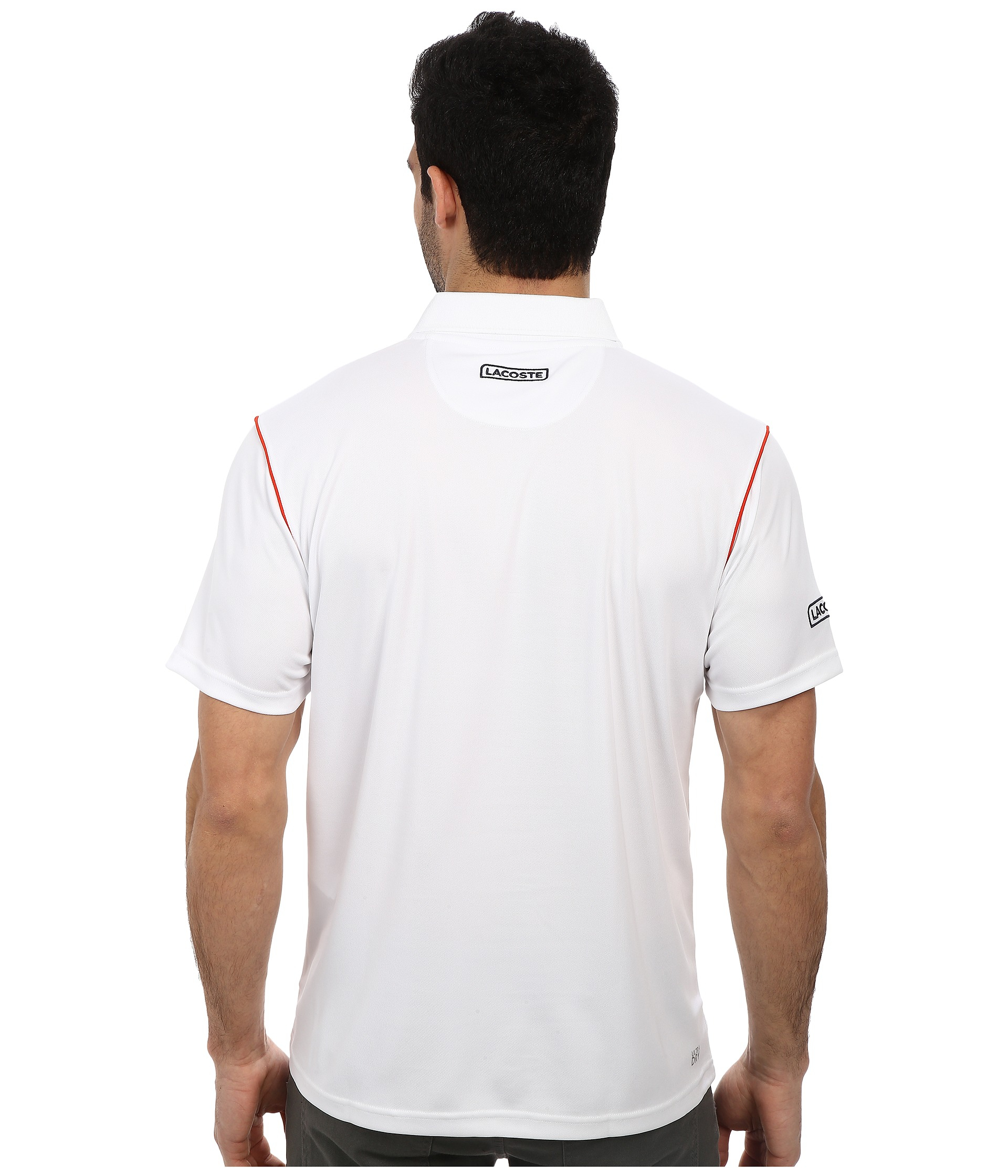 Lacoste sport pique ultra dry chest stripe polo in white for Lacoste stripe pique polo shirt