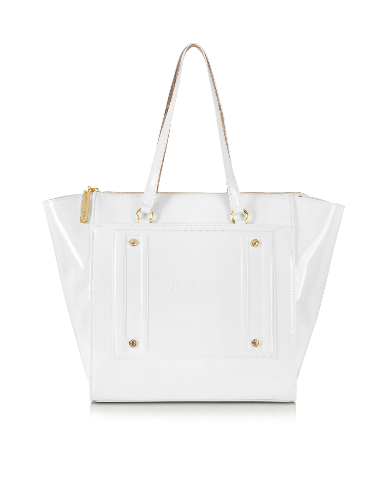 Versace Jeans White Patent Eco Leather Tote
