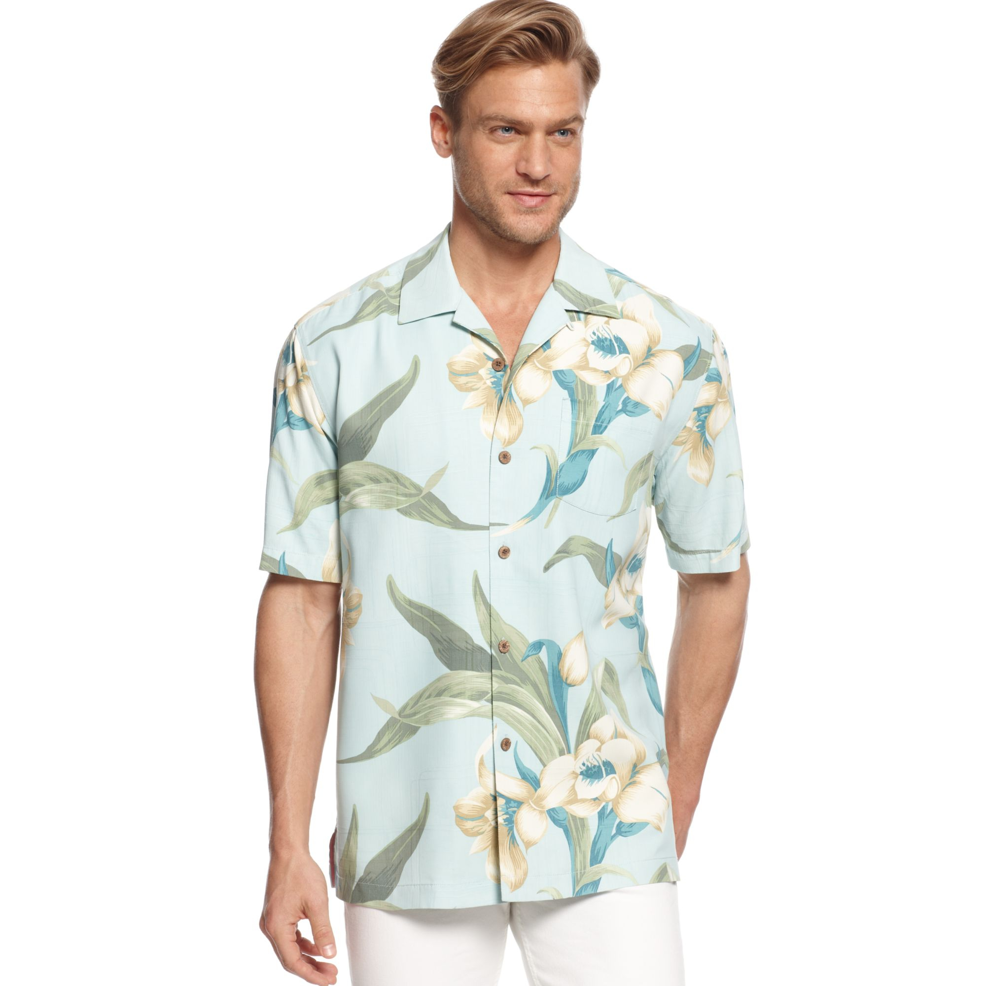 Tommy bahama the grand floralscape silk shirt in green for for Tommy bahama christmas shirt 2014