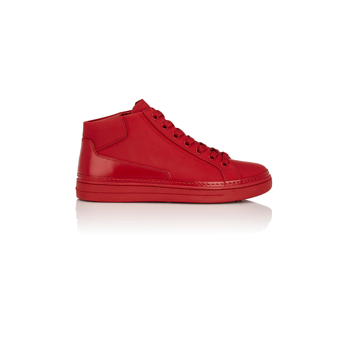 1f1be08619dc ... clearance lyst prada mens monochrome mid top sneakers in red bd8b7 5b6eb