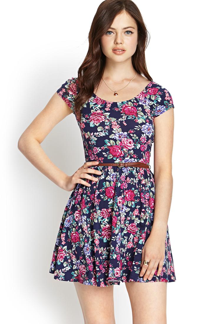 Forever 21 Belted Floral Skater Dress in Blue (Navy/blush ...
