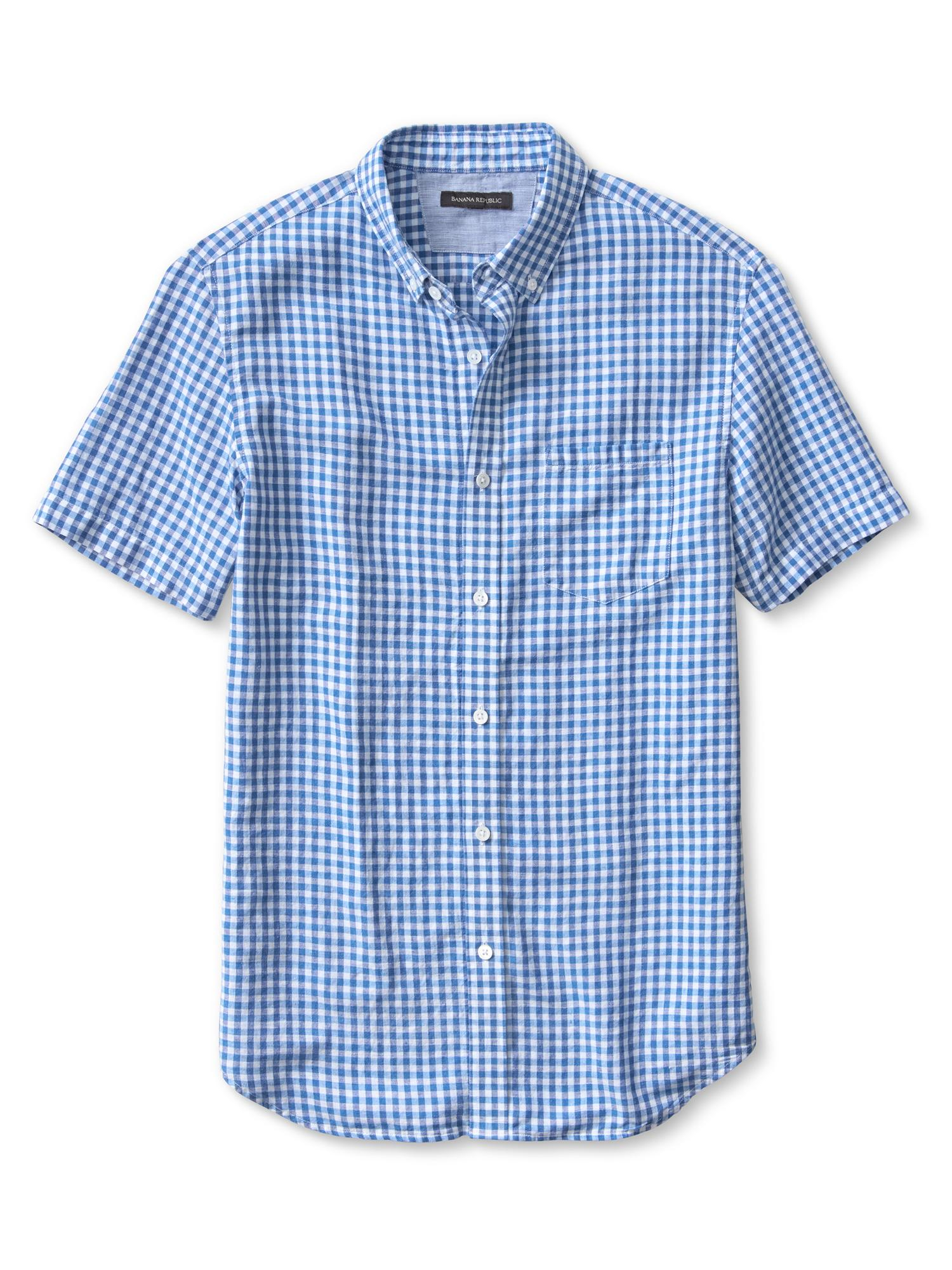 banana republic slim fit gingham linen cotton short sleeve