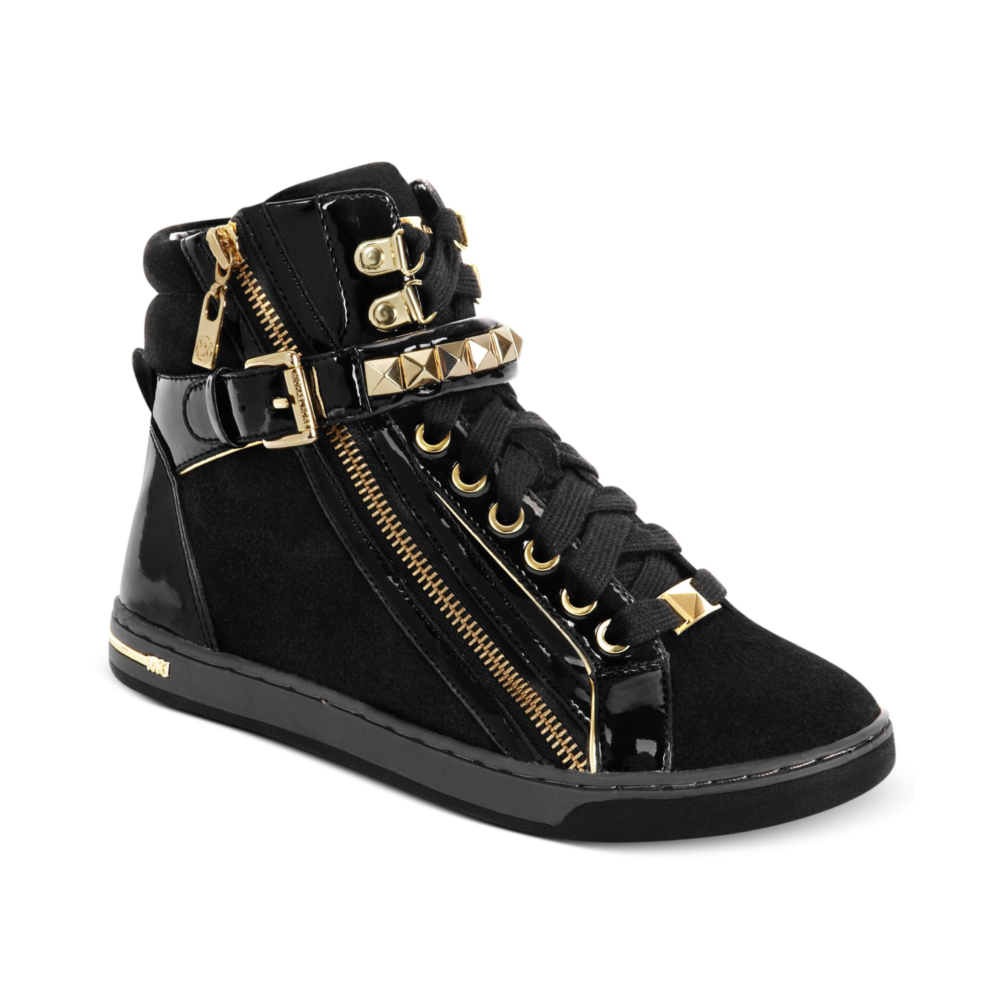 michael kors michael glam studded high top sneakers in gold black suede lyst. Black Bedroom Furniture Sets. Home Design Ideas