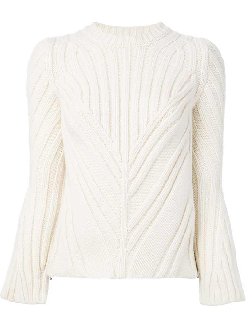 Alexander mcqueen Thick Ribbed Sweater in White | Lyst