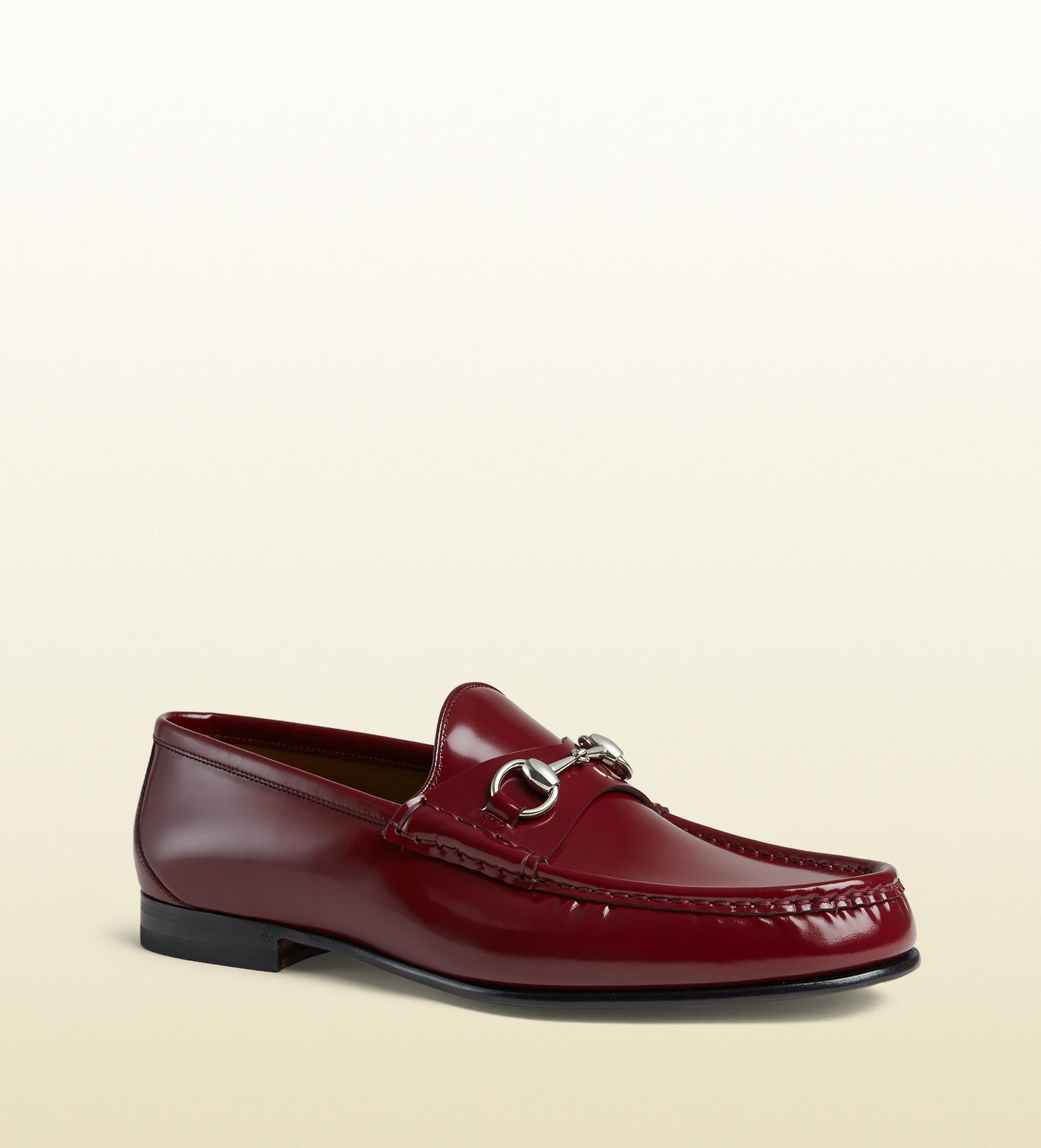 41487e4cd83 Lyst - Gucci Men s Brushed Leather Horsebit Loafer in Red for Men