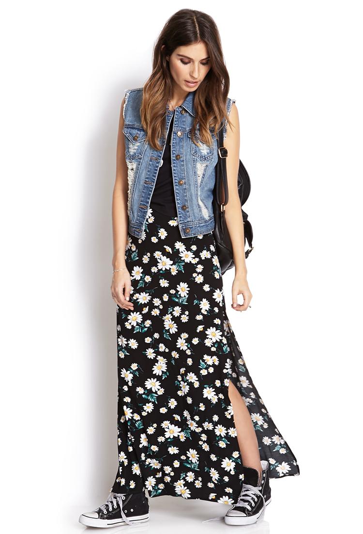 Forever 21 Flower Child M-Slit Maxi Skirt | Lyst