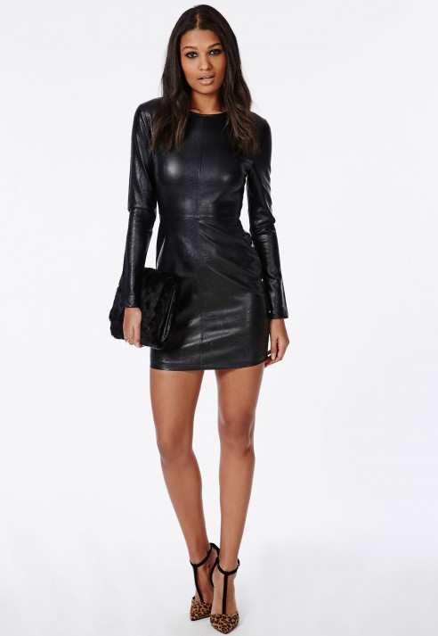 Missguided Pu Leather Mini Dress Black In Black Lyst