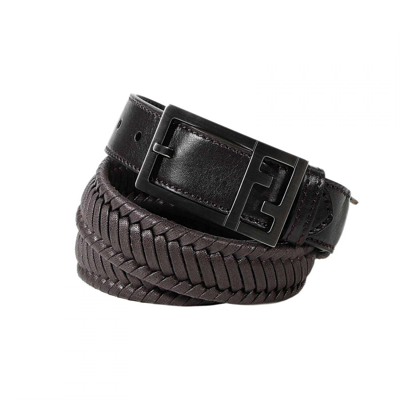 Fendi Classic Belt Leather Intreccio In Black For Men