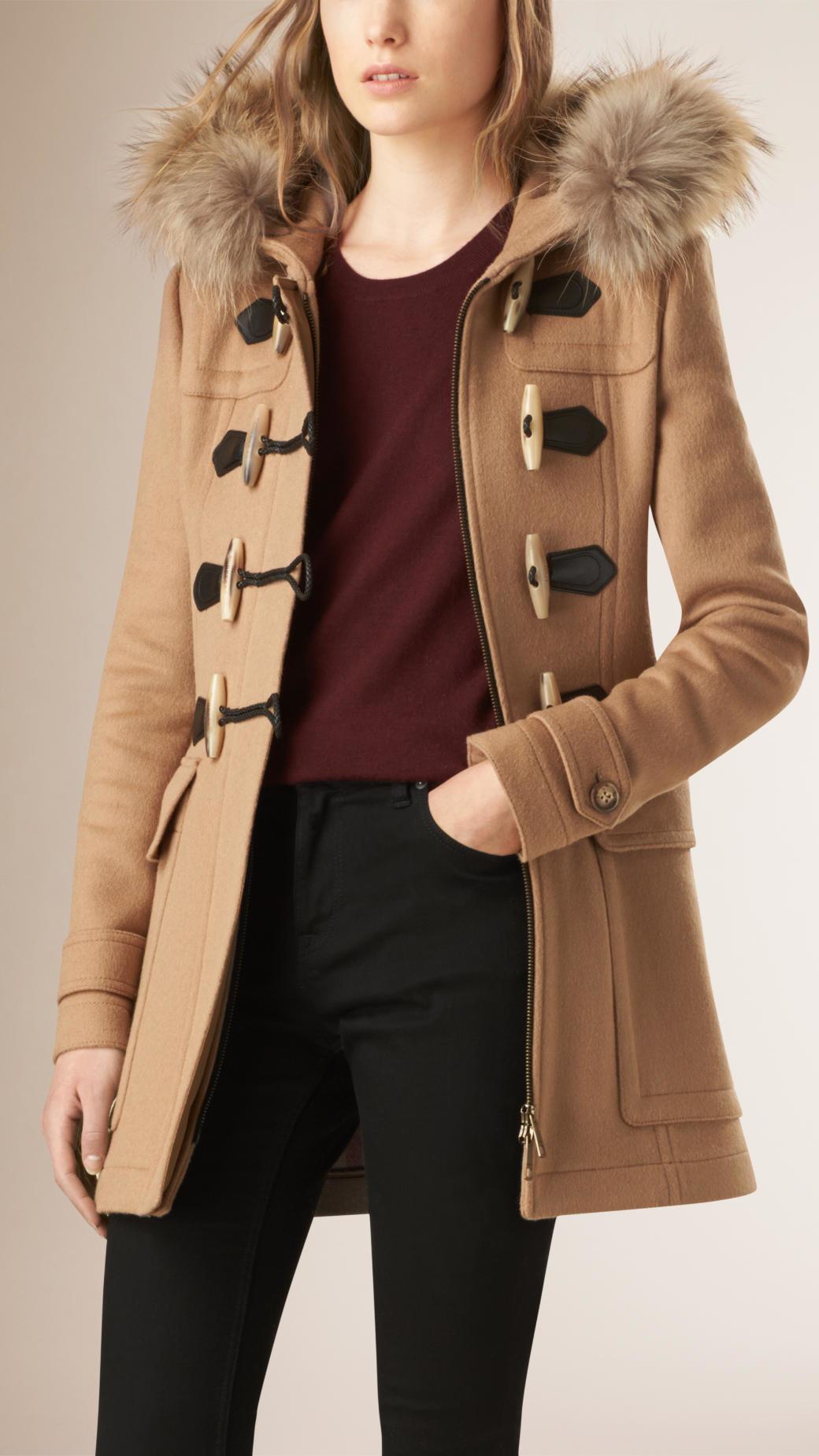 Burberry Blackwell Detachable Fur Trim Wool Duffle Coat Camel in ...