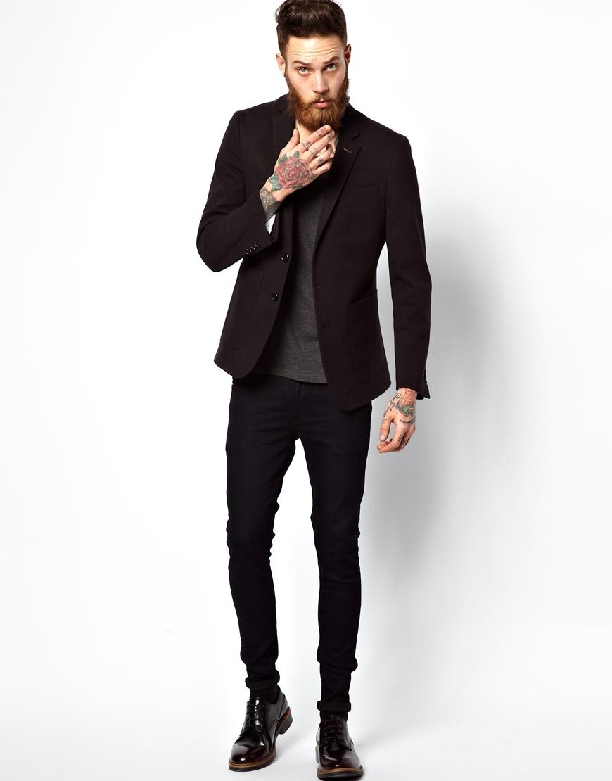 asos slim fit blazer in jersey in black for men lyst. Black Bedroom Furniture Sets. Home Design Ideas
