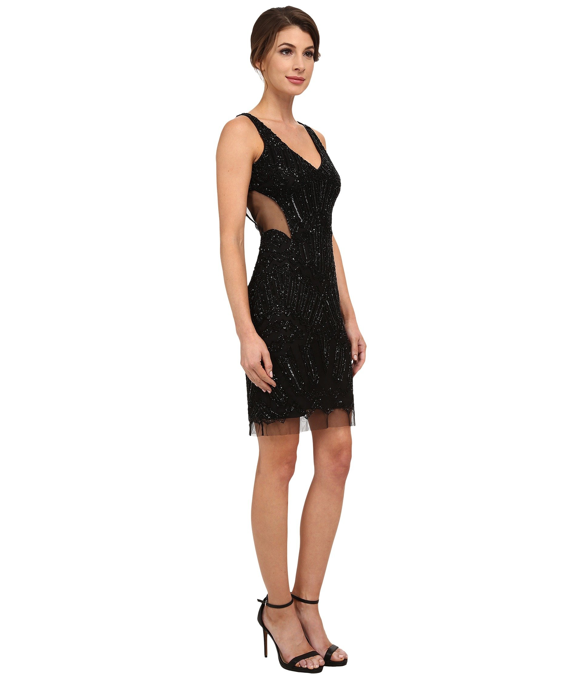 papell fully beaded halter cocktail dress in