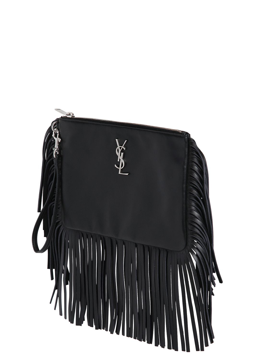 dc64274f24 Lyst - Saint Laurent Monogram Fringed Leather Pouch in Black