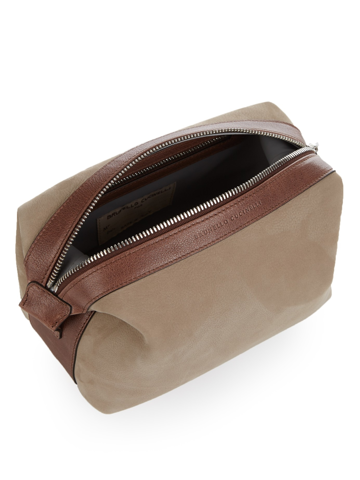 86c609495452 Lyst - Brunello Cucinelli Grained Leather Washbag in Brown for Men