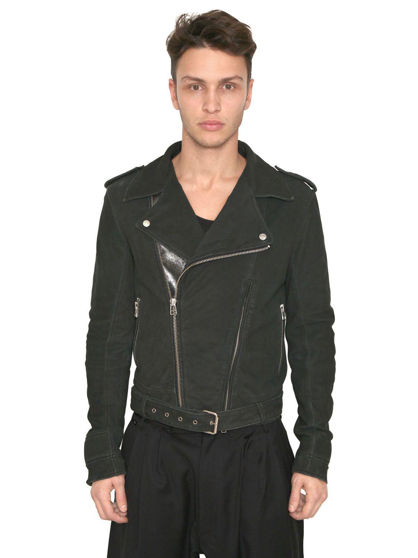 Adidas SLVR Stone Washed Leather Biker Jacket In