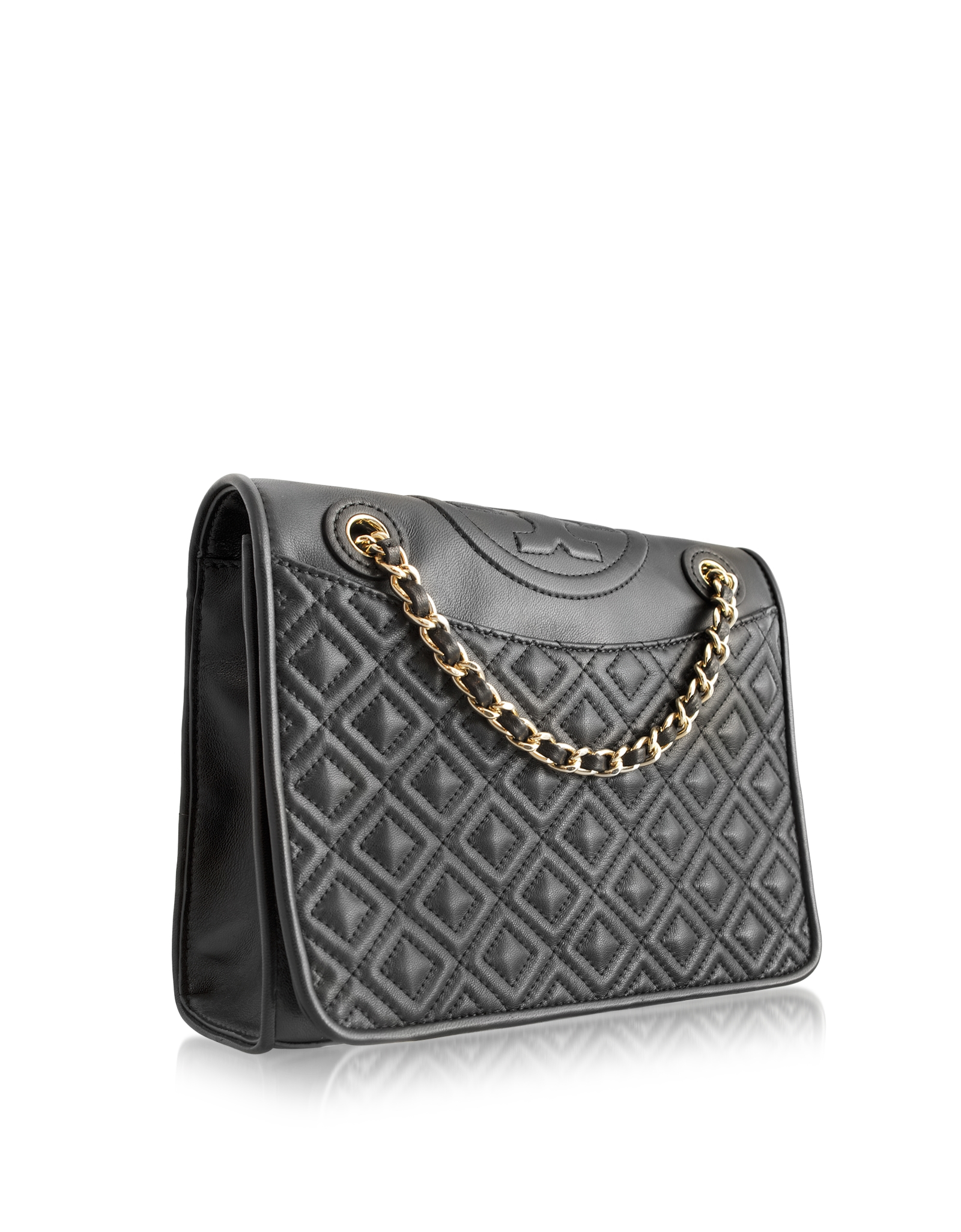 e05892d3025 Tory Burch Fleming Medium Quilted Smooth Leather Bag W/Chain in ...