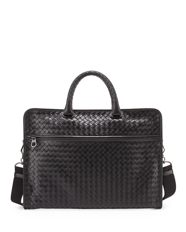 Bottega Veneta Men's Small Woven Leather Briefcase in ...