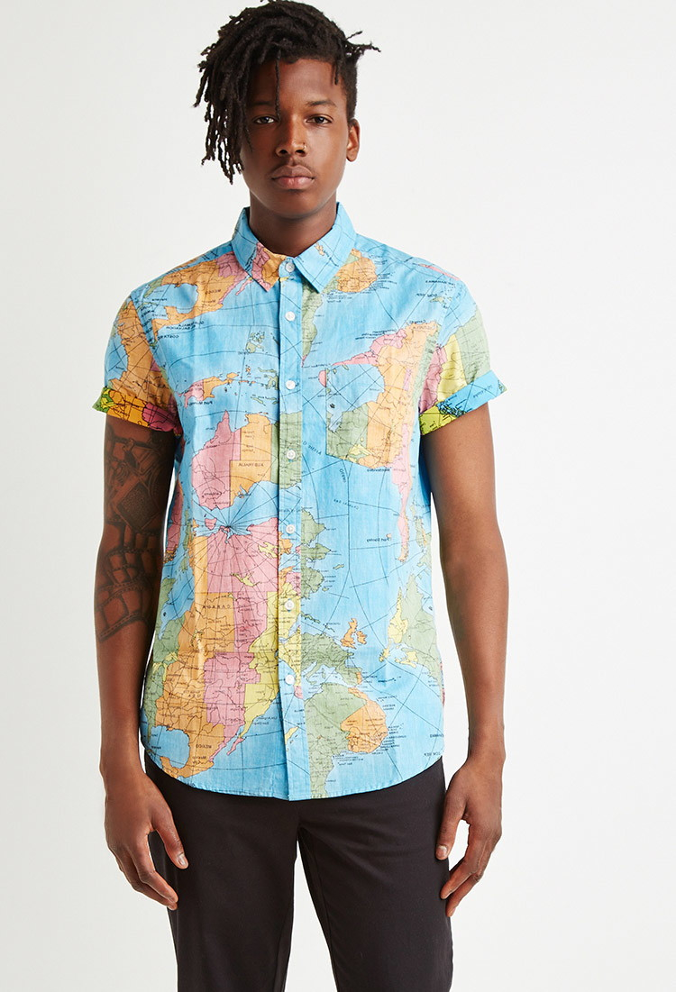 World Map Button Down Shirt.Lyst Forever 21 Reverse Map Print Cotton Shirt In Blue For Men