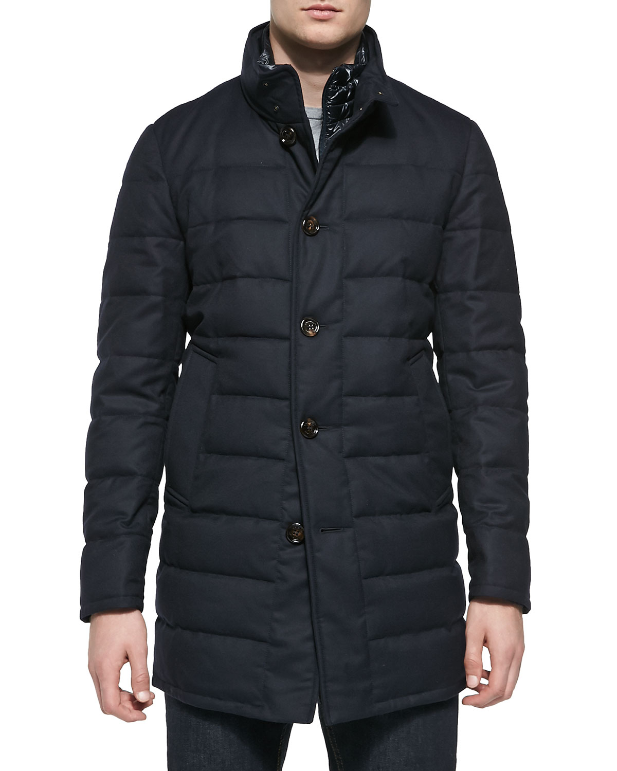 Moncler Quilted Wool Longer Puffer Jacket In Blue For Men